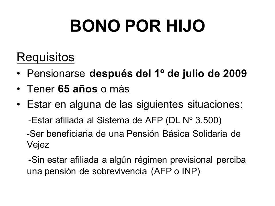 BONO POR HIJO Requisitos Pensionarse después del 1º de julio de 2009 Tener 65 años o más Estar en alguna de las siguientes situaciones: -Estar afiliad
