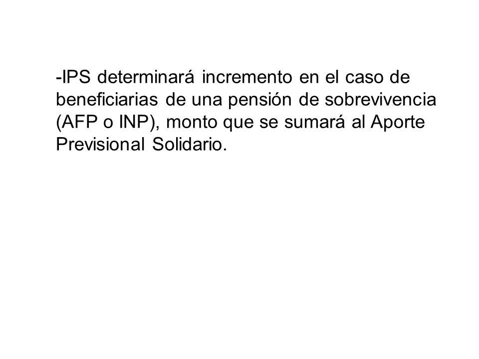 -IPS determinará incremento en el caso de beneficiarias de una pensión de sobrevivencia (AFP o INP), monto que se sumará al Aporte Previsional Solidar