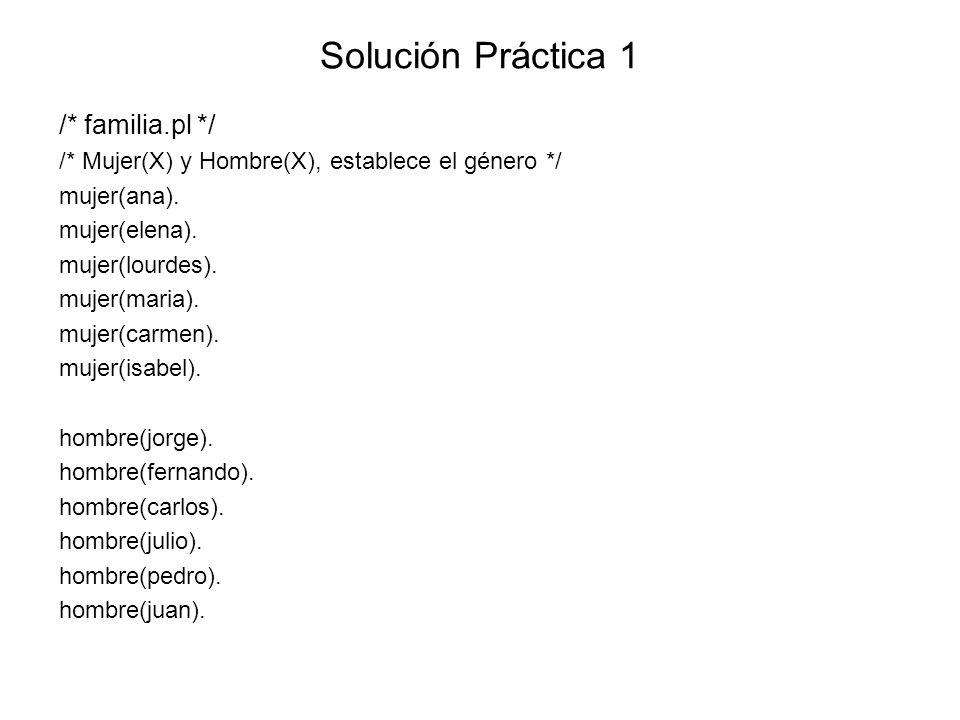 Solución Práctica 1 /* familia.pl */ /* Mujer(X) y Hombre(X), establece el género */ mujer(ana).