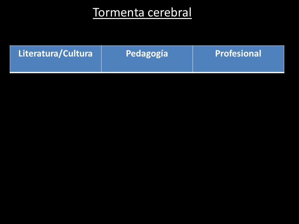 Tormenta cerebral Literatura/CulturaPedagogíaProfesional
