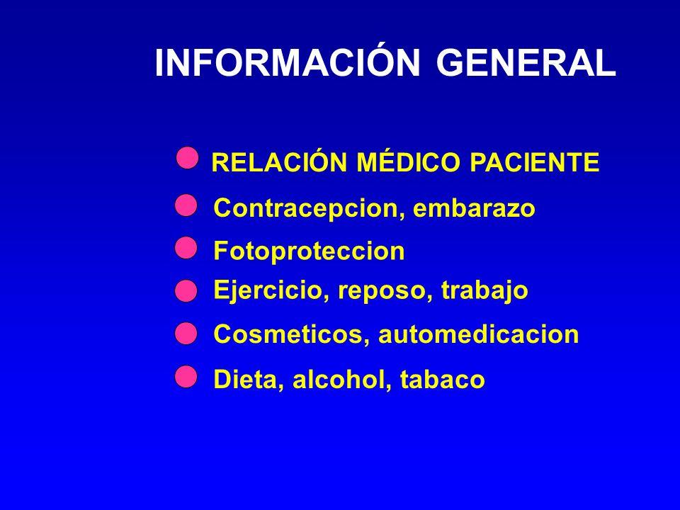 INFORMACIÓN GENERAL RELACIÓN MÉDICO PACIENTE Dieta, alcohol, tabaco Ejercicio, reposo, trabajo Contracepcion, embarazo Fotoproteccion Cosmeticos, automedicacion