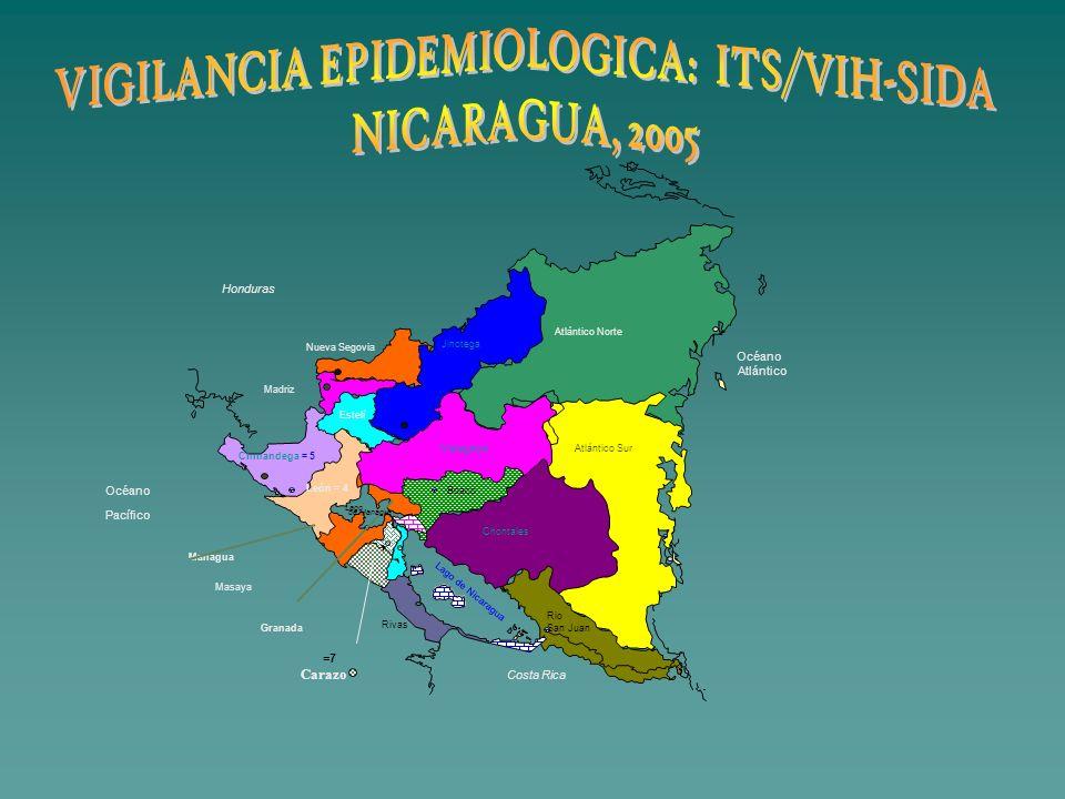 Costa Rica Océano Atlántico Océano Pacífico Lago de Nicaragua Honduras Boaco Rio San Juan Atlántico Sur Atlántico Norte León = 4 Chinandega = 5 Estelí