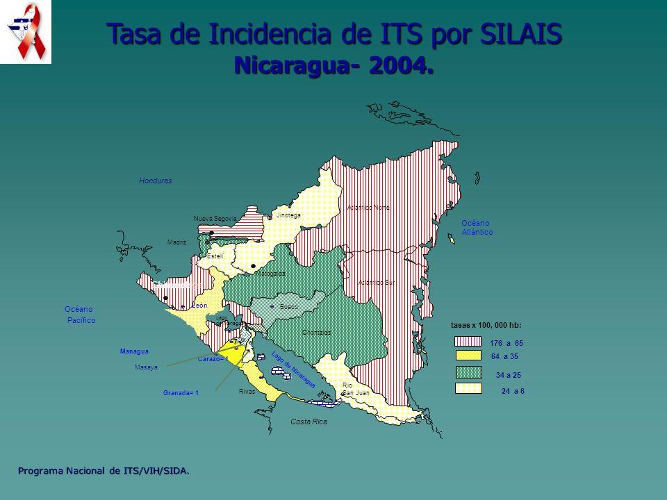 Programa Nacional de ITS/VIH/SIDA. Costa Rica Océano Atlántico Océano Pacífico Lago de Nicaragua Honduras Boaco Rio San Juan Atlántico Sur Atlántico N