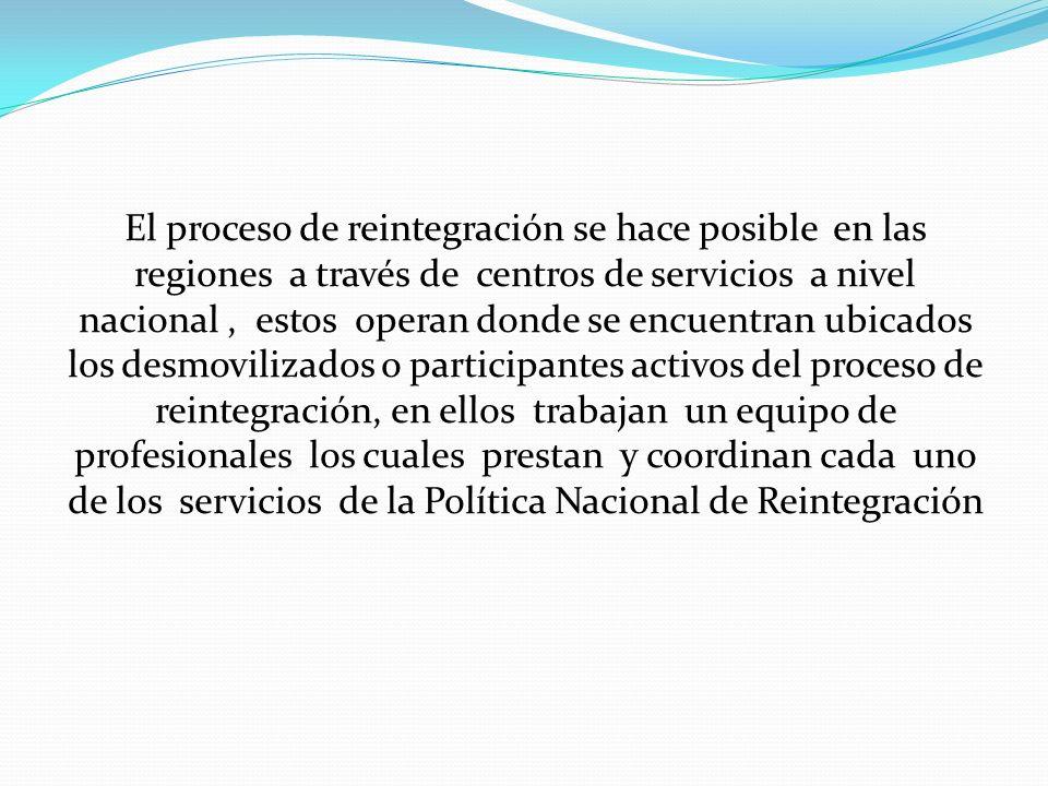 El proceso de reintegración se hace posible en las regiones a través de centros de servicios a nivel nacional, estos operan donde se encuentran ubicad