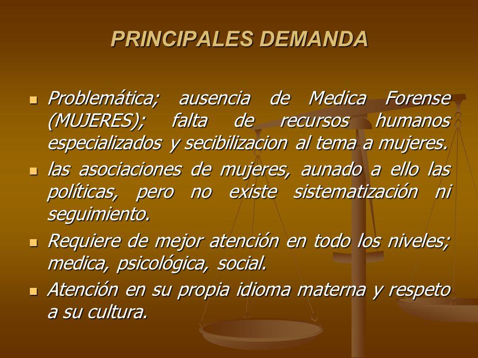 PRINCIPALES DEMANDA Problemática; ausencia de Medica Forense (MUJERES); falta de recursos humanos especializados y secibilizacion al tema a mujeres. P