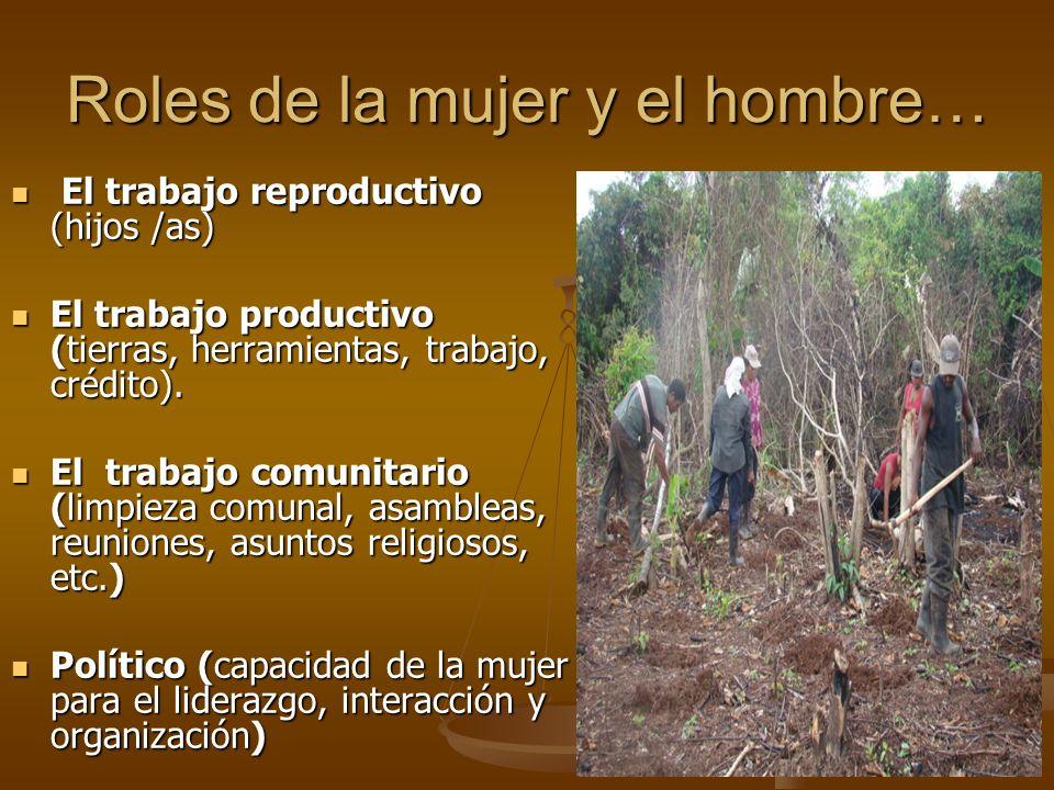 Roles de la mujer y el hombre… El trabajo reproductivo (hijos /as) El trabajo reproductivo (hijos /as) El trabajo productivo (tierras, herramientas, t