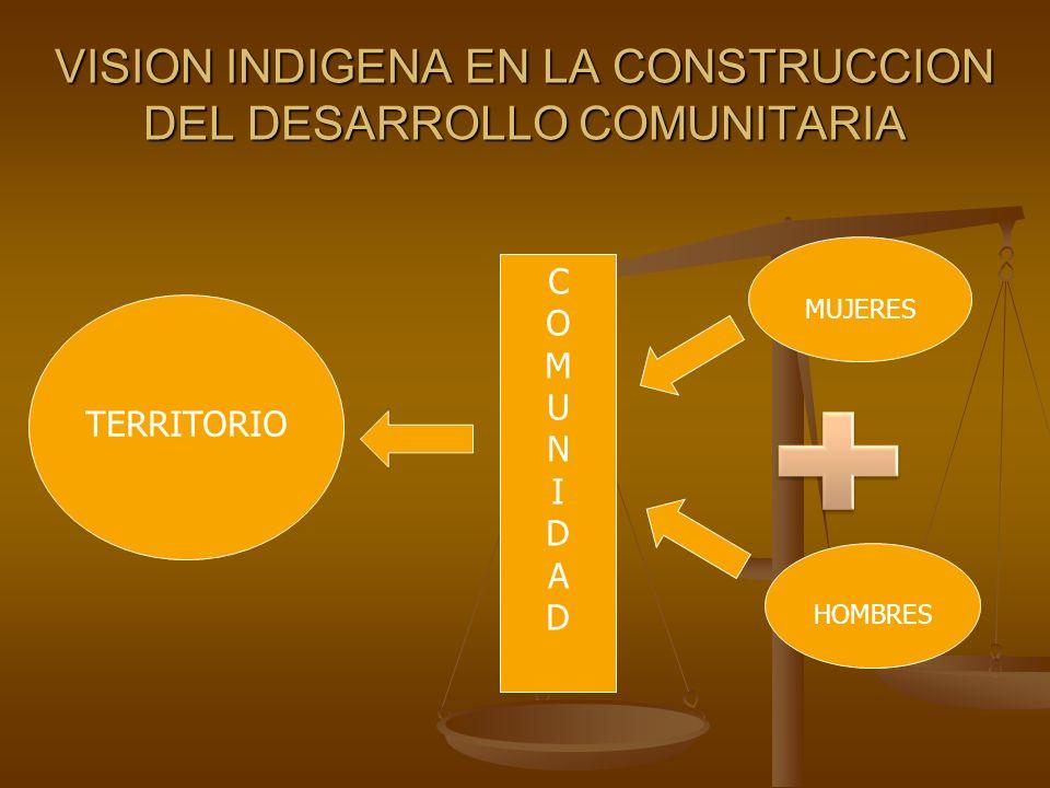 VISION INDIGENA EN LA CONSTRUCCION DEL DESARROLLO COMUNITARIA TERRITORIO MUJERES HOMBRES COMUNIDADCOMUNIDAD