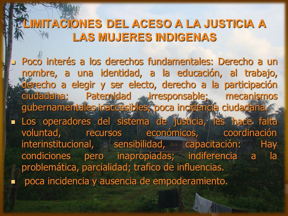 LIMITACIONES DEL ACESO A LA JUSTICIA A LAS MUJERES INDIGENAS Poco interés a los derechos fundamentales: Derecho a un nombre, a una identidad, a la edu