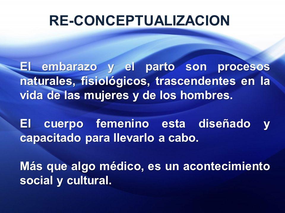 RE-CONCEPTUALIZACION El embarazo y el parto son procesos naturales, fisiológicos, trascendentes en la vida de las mujeres y de los hombres.