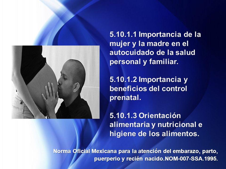 5.10.1.1 Importancia de la mujer y la madre en el autocuidado de la salud personal y familiar.