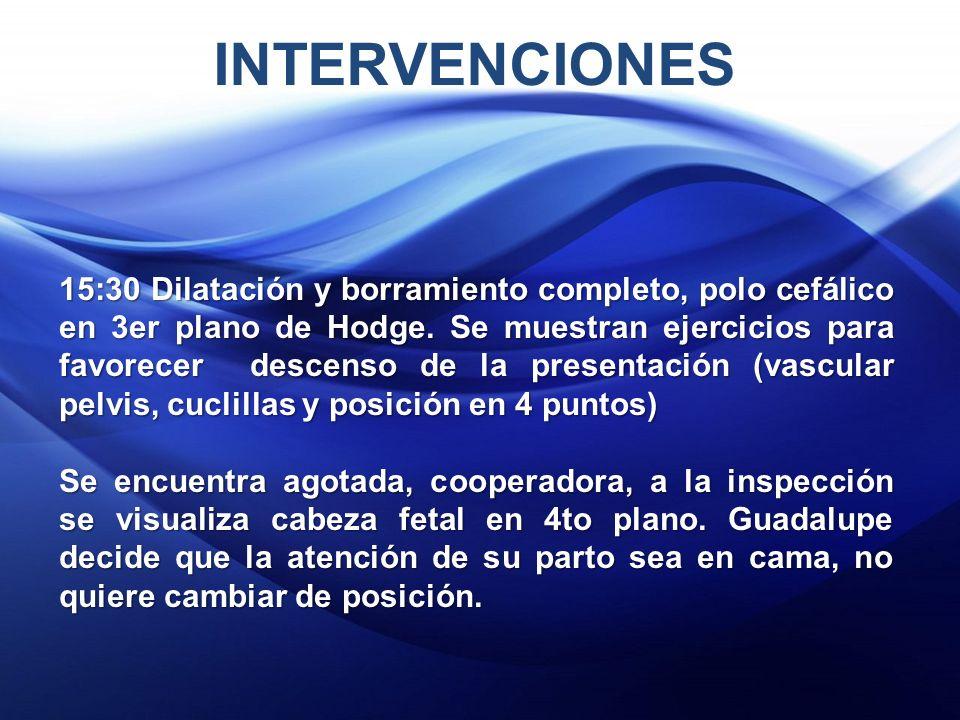INTERVENCIONES 15:30 Dilatación y borramiento completo, polo cefálico en 3er plano de Hodge.