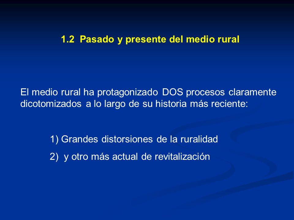 1.2 Pasado y presente del medio rural El medio rural ha protagonizado DOS procesos claramente dicotomizados a lo largo de su historia más reciente: 1)