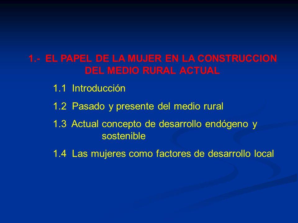 1.- EL PAPEL DE LA MUJER EN LA CONSTRUCCION DEL MEDIO RURAL ACTUAL 1.1 Introducción 1.2 Pasado y presente del medio rural 1.3 Actual concepto de desar