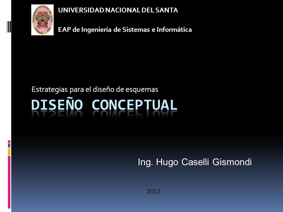 Estrategias para el diseño de esquemas UNIVERSIDAD NACIONAL DEL SANTA EAP de Ingeniería de Sistemas e Informática Ing.