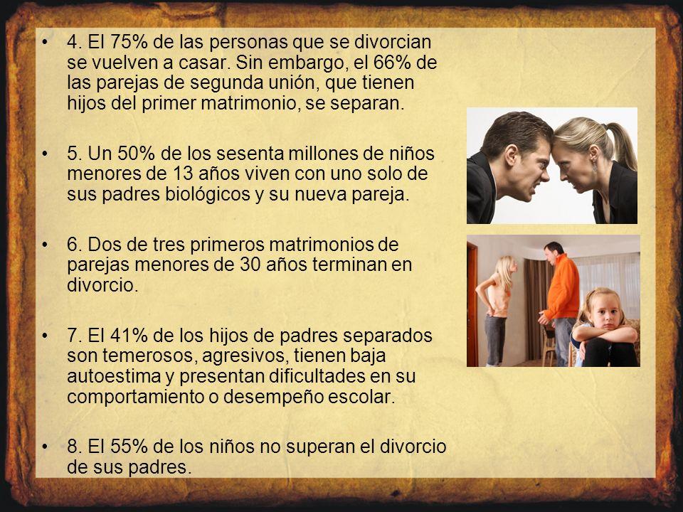 4. El 75% de las personas que se divorcian se vuelven a casar. Sin embargo, el 66% de las parejas de segunda unión, que tienen hijos del primer matrim