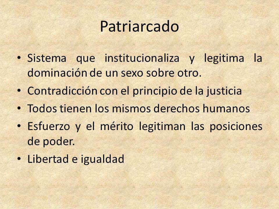 Patriarcado Sistema que institucionaliza y legitima la dominación de un sexo sobre otro. Contradicción con el principio de la justicia Todos tienen lo
