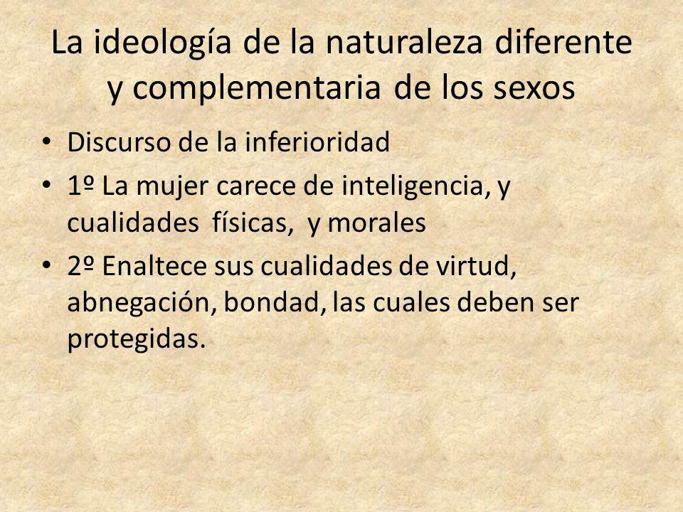 La ideología de la naturaleza diferente y complementaria de los sexos Discurso de la inferioridad 1º La mujer carece de inteligencia, y cualidades fís