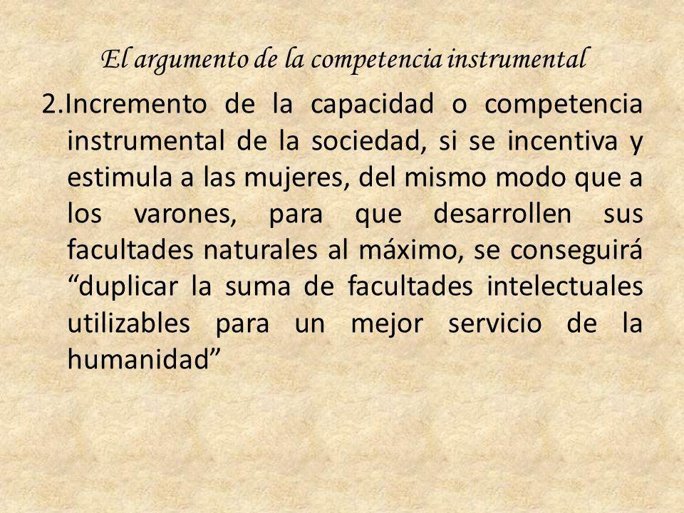 El argumento de la competencia instrumental 2.Incremento de la capacidad o competencia instrumental de la sociedad, si se incentiva y estimula a las m