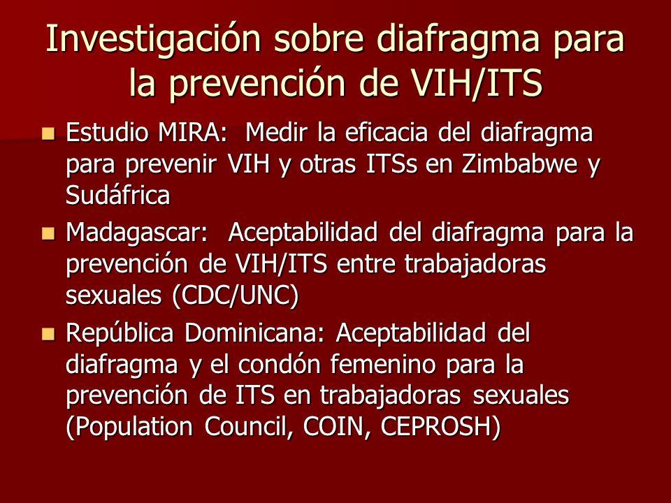 Investigación sobre diafragma para la prevención de VIH/ITS Estudio MIRA: Medir la eficacia del diafragma para prevenir VIH y otras ITSs en Zimbabwe y
