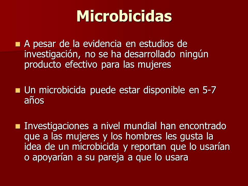 Microbicidas A pesar de la evidencia en estudios de investigación, no se ha desarrollado ningún producto efectivo para las mujeres A pesar de la evide