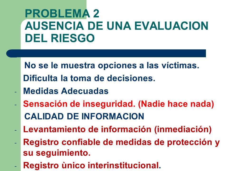 PROBLEMA 2 AUSENCIA DE UNA EVALUACION DEL RIESGO No se le muestra opciones a las víctimas. Dificulta la toma de decisiones. - Medidas Adecuadas - Sens