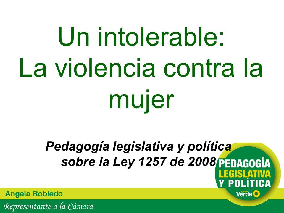Un intolerable: La violencia contra la mujer Pedagogía legislativa y política sobre la Ley 1257 de 2008