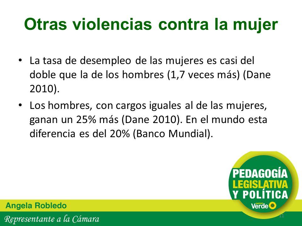 Otras violencias contra la mujer La tasa de desempleo de las mujeres es casi del doble que la de los hombres (1,7 veces más) (Dane 2010). Los hombres,