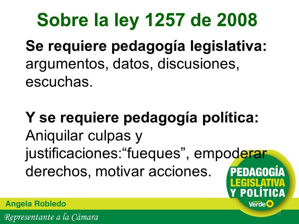 Se requiere pedagogía legislativa: argumentos, datos, discusiones, escuchas. Y se requiere pedagogía política: Aniquilar culpas y justificaciones:fueq