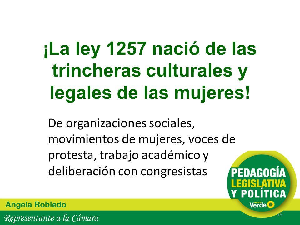¡La ley 1257 nació de las trincheras culturales y legales de las mujeres! De organizaciones sociales, movimientos de mujeres, voces de protesta, traba