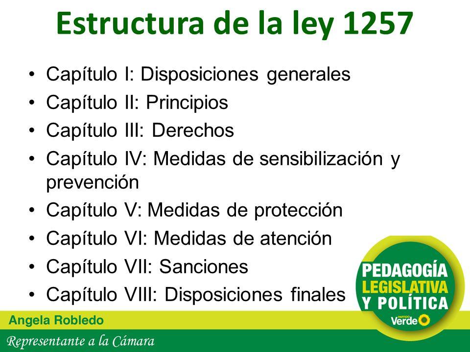 Estructura de la ley 1257 Capítulo I: Disposiciones generales Capítulo II: Principios Capítulo III: Derechos Capítulo IV: Medidas de sensibilización y