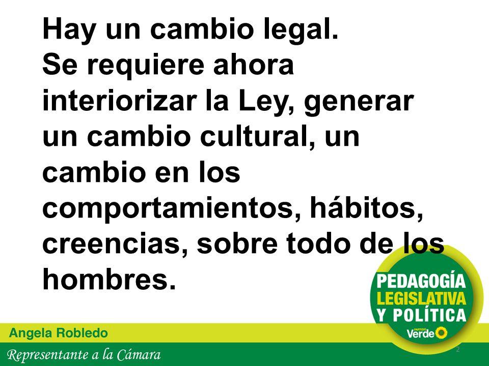 Hay un cambio legal. Se requiere ahora interiorizar la Ley, generar un cambio cultural, un cambio en los comportamientos, hábitos, creencias, sobre to