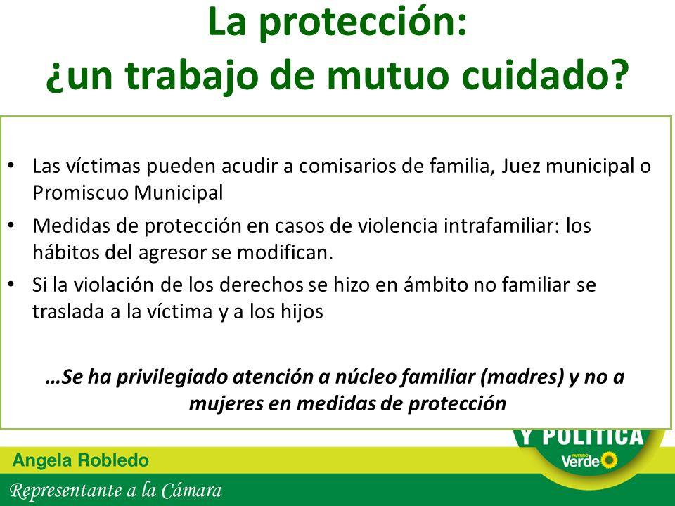 La protección: ¿un trabajo de mutuo cuidado? Las víctimas pueden acudir a comisarios de familia, Juez municipal o Promiscuo Municipal Medidas de prote