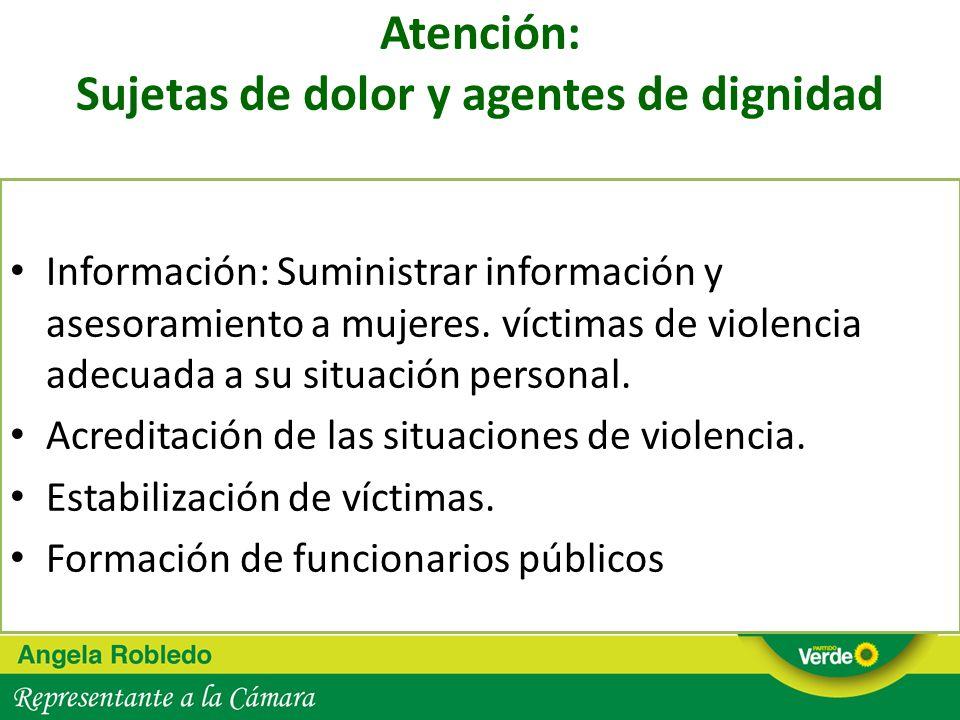 Atención: Sujetas de dolor y agentes de dignidad Información: Suministrar información y asesoramiento a mujeres. víctimas de violencia adecuada a su s