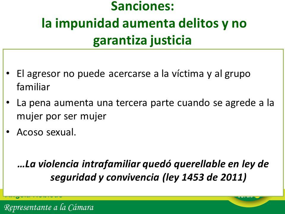 Sanciones: la impunidad aumenta delitos y no garantiza justicia El agresor no puede acercarse a la víctima y al grupo familiar La pena aumenta una ter