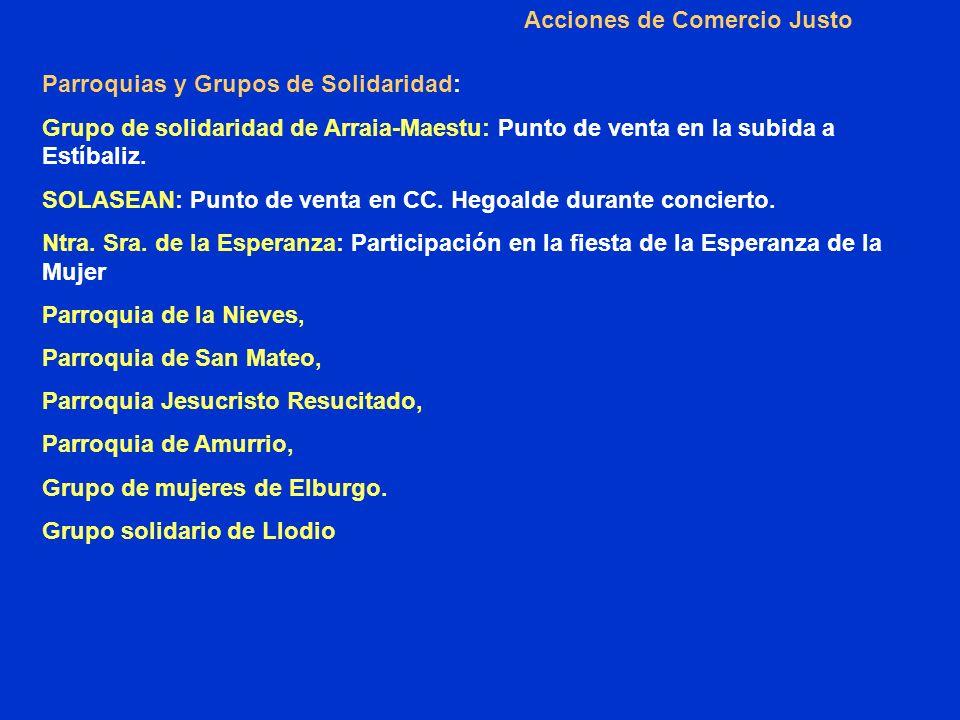 Acciones de Comercio Justo Parroquias y Grupos de Solidaridad: Grupo de solidaridad de Arraia-Maestu: Punto de venta en la subida a Estíbaliz.