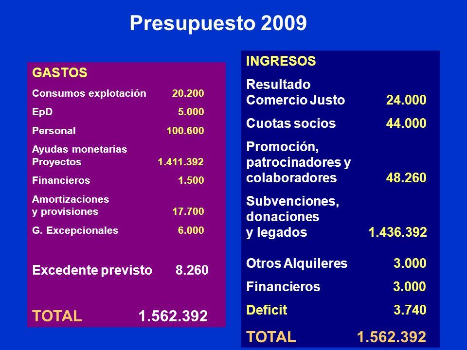 Presupuesto 2009 GASTOS Consumos explotación20.200 EpD 5.000 Personal 100.600 Ayudas monetarias Proyectos 1.411.392 Financieros 1.500 Amortizaciones y provisiones17.700 G.