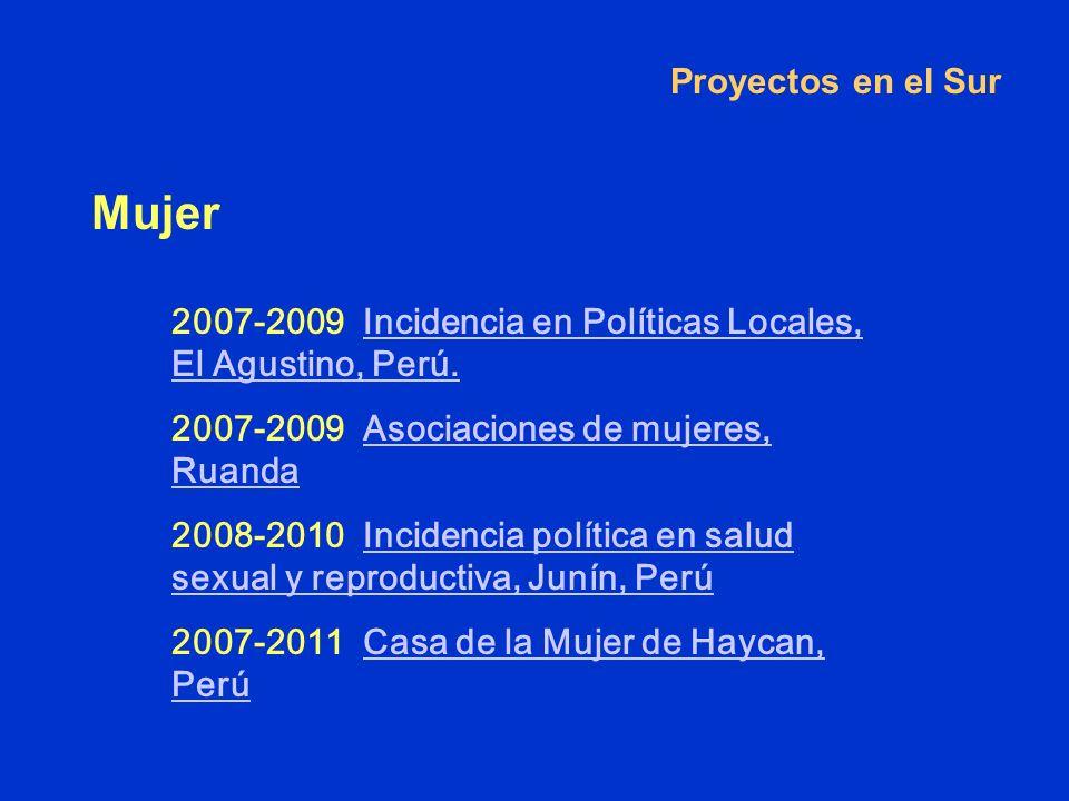 Proyectos en el Sur Mujer Perú 2007-2009 Incidencia en Políticas Locales, El Agustino, Perú.