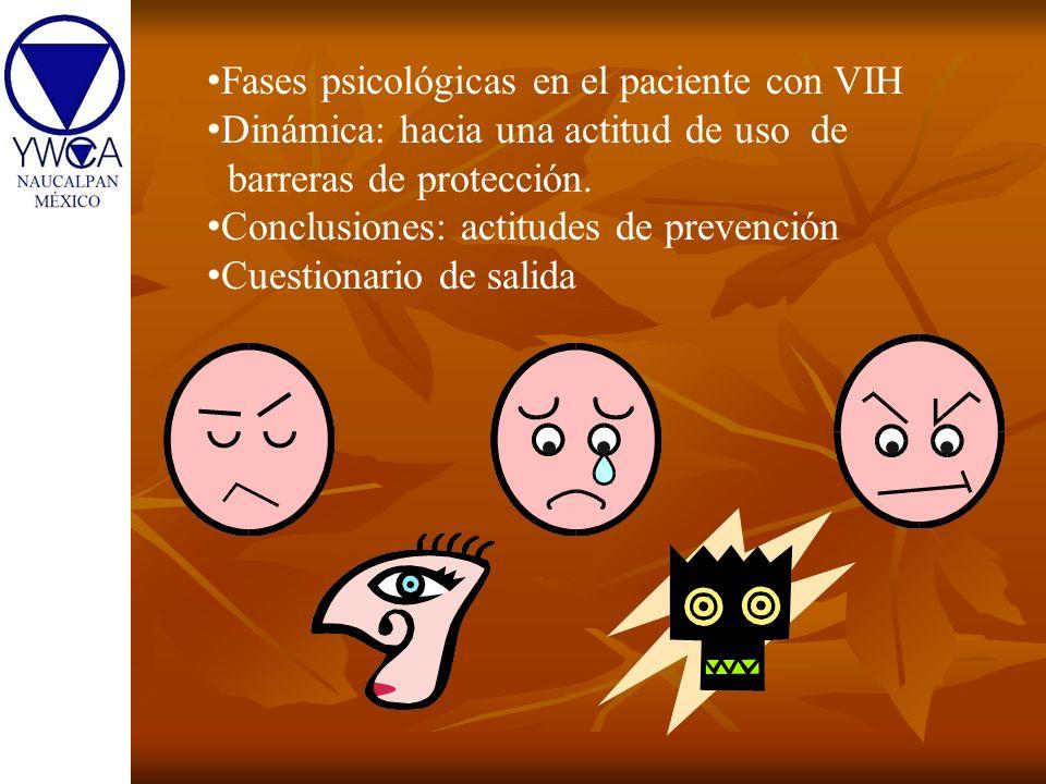 Fases psicológicas en el paciente con VIH Dinámica: hacia una actitud de uso de barreras de protección. Conclusiones: actitudes de prevención Cuestion