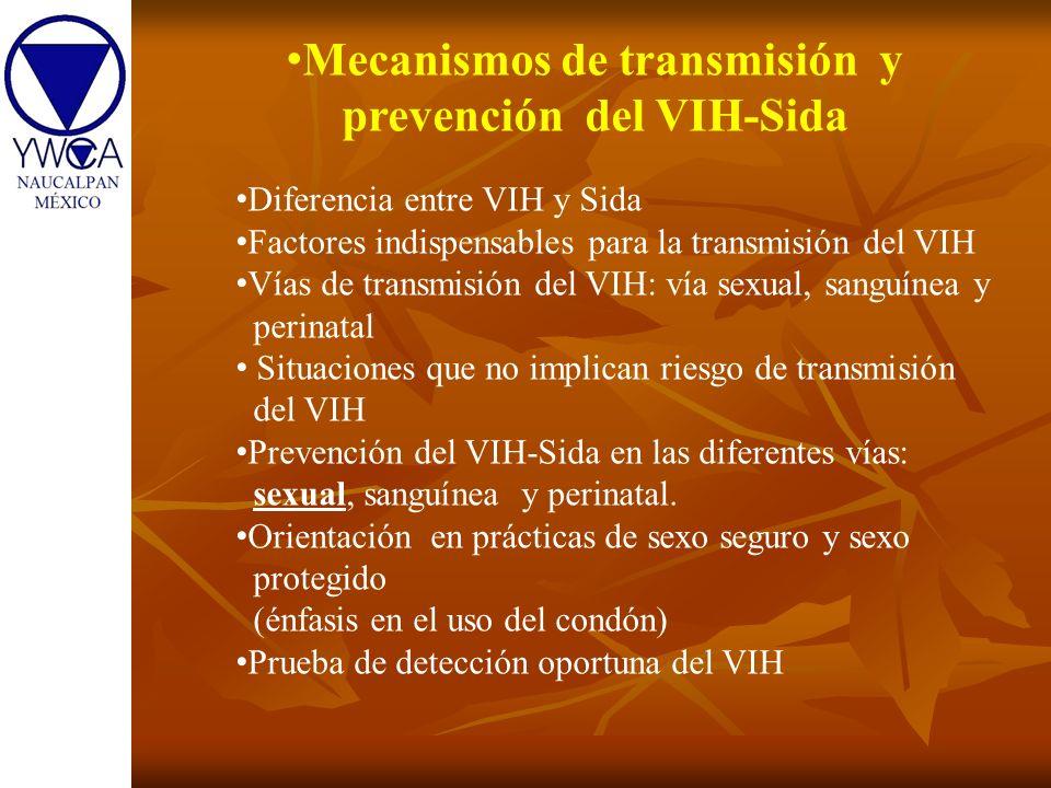 Mecanismos de transmisión y prevención del VIH-Sida Diferencia entre VIH y Sida Factores indispensables para la transmisión del VIH Vías de transmisió