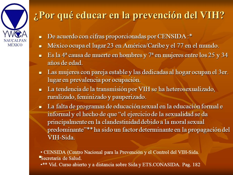 ¿Por qué educar en la prevención del VIH? De acuerdo con cifras proporcionadas por CENSIDA :* De acuerdo con cifras proporcionadas por CENSIDA :* Méxi