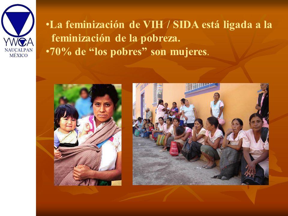 La feminización de VIH / SIDA está ligada a la feminización de la pobreza. 70% de los pobres son mujeres.