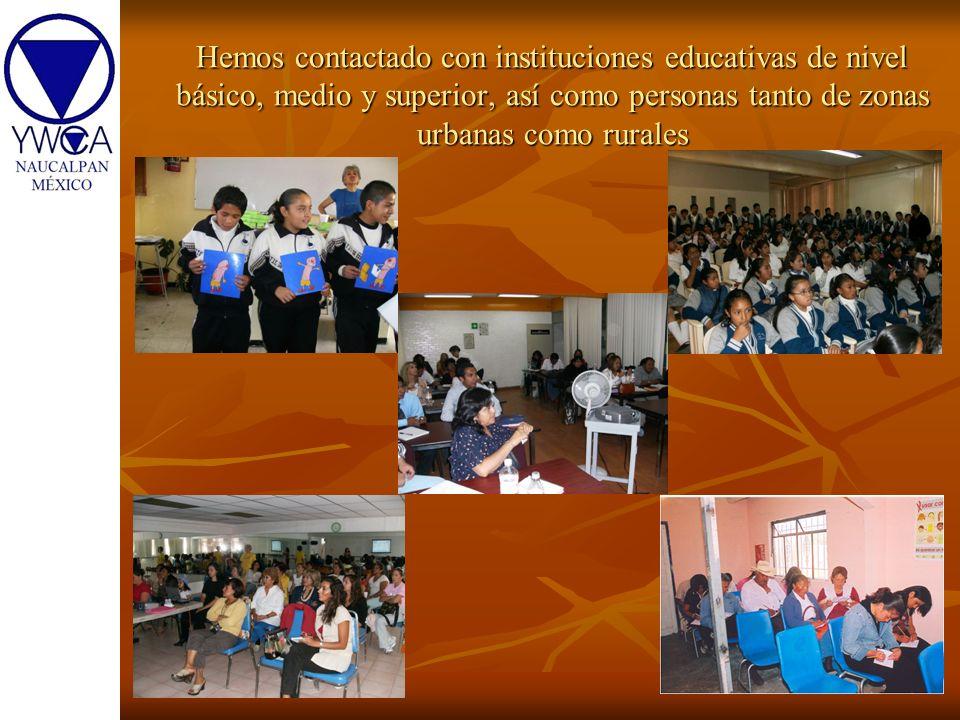Hemos contactado con instituciones educativas de nivel básico, medio y superior, así como personas tanto de zonas urbanas como rurales