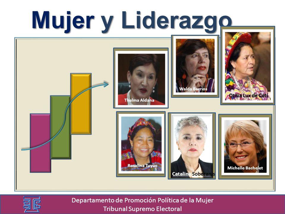 Mujer y Liderazgo Thelma Aldana Walda Barrios Michelle Bachelet Rosalina Tuyuc Catalina Soberanis Otilia Lux de Cotí Departamento de Promoción Política de la Mujer Tribunal Supremo Electoral