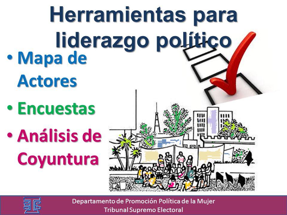 Departamento de Promoción Política de la Mujer Tribunal Supremo Electoral Herramientas para liderazgo político Mapa de Actores Mapa de Actores Encuest