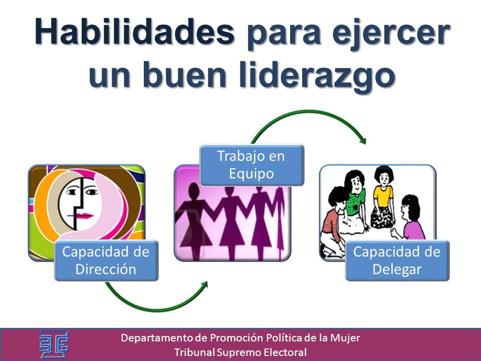 Habilidades para ejercer un buen liderazgo Departamento de Promoción Política de la Mujer Tribunal Supremo Electoral Capacidad de Dirección Trabajo en Equipo.