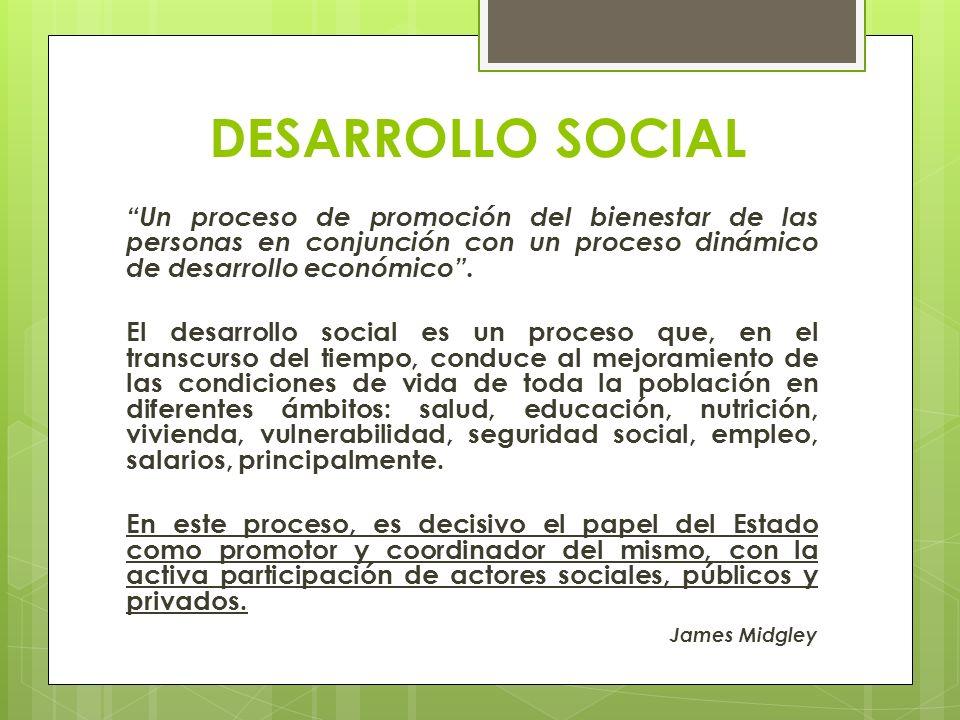 DESARROLLO SOCIAL Un proceso de promoción del bienestar de las personas en conjunción con un proceso dinámico de desarrollo económico. El desarrollo s