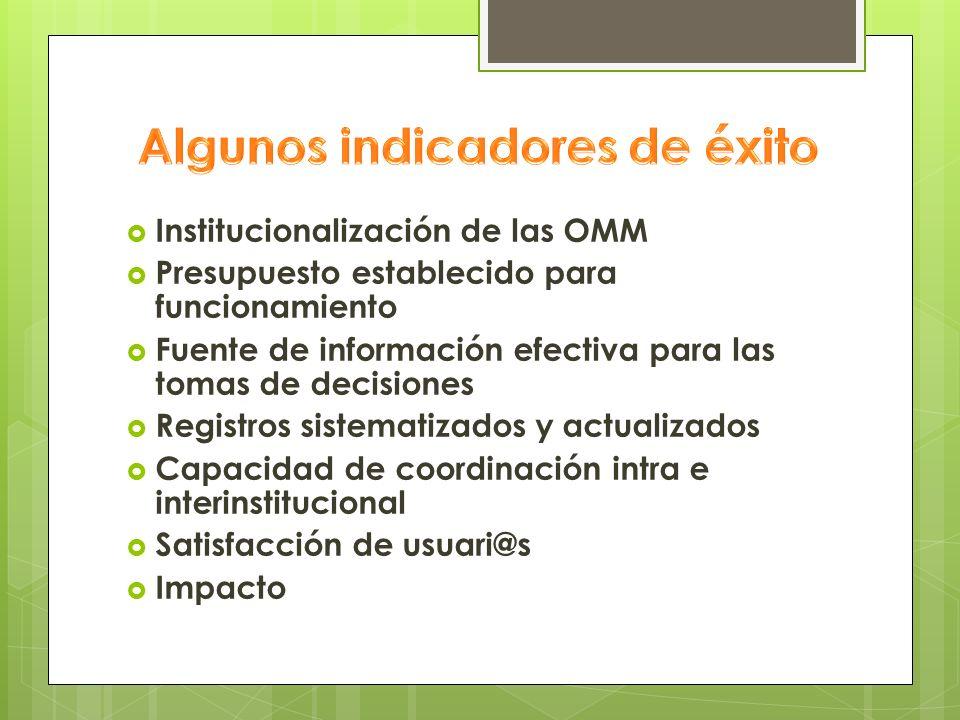 Institucionalización de las OMM Presupuesto establecido para funcionamiento Fuente de información efectiva para las tomas de decisiones Registros sist