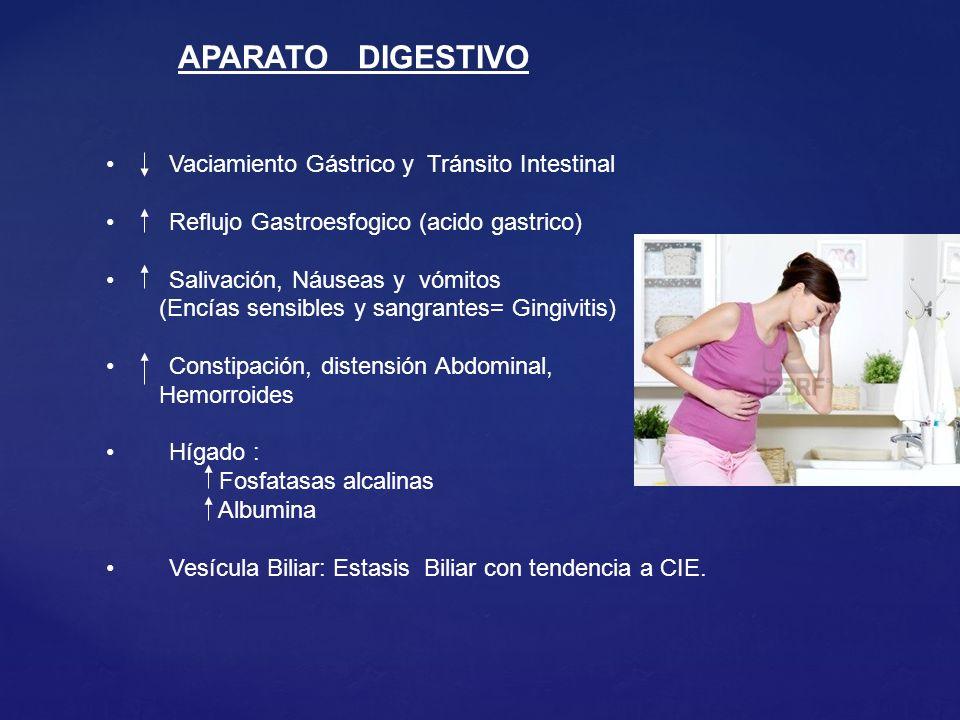 APARATO DIGESTIVO Vaciamiento Gástrico y Tránsito Intestinal Reflujo Gastroesfogico (acido gastrico) Salivación, Náuseas y vómitos (Encías sensibles y sangrantes= Gingivitis) Constipación, distensión Abdominal, Hemorroides Hígado : Fosfatasas alcalinas Albumina Vesícula Biliar: Estasis Biliar con tendencia a CIE.