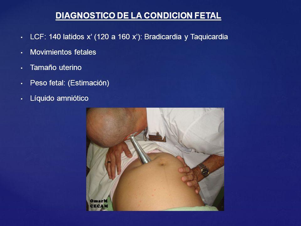 LCF: 140 latidos x (120 a 160 x): Bradicardia y Taquicardia Movimientos fetales Tamaño uterino Peso fetal: (Estimación) Líquido amniótico DIAGNOSTICO DE LA CONDICION FETAL