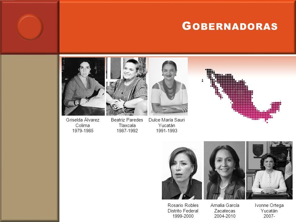 G OBERNADORAS Griselda Álvarez Colima 1979-1985 Beatriz Paredes Tlaxcala 1987-1992 Dulce María Sauri Yucatán 1991-1993 Rosario Robles Distrito Federal